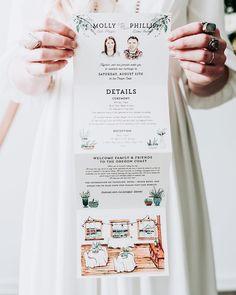 289 Likes, 7 Comments - Amanda Franz Illustrated Wedding Invitations, Unique Wedding Invitations, Wedding Stationary, Wedding Programs, Wedding Cards, Foto Wedding, Diy Wedding, Wedding Photos, Dream Wedding