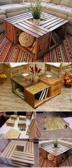 Antique Wine Crate Or Wood Box Coffee Table DIY Antike Weinkiste oder Holzkiste Couchtisch DIY This image has get Wood Crates, Wood Boxes, Wood Pallets, Pallet Wood, Pallet Bench, Unique Coffee Table, Diy Coffee Table, Wood Pallet Coffee Table, Coffee Ideas