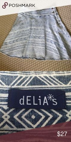 Aztec Patterned Denim Skater Skirt The Aztec pattern is so cool and intricate. :) dELiA's Skirts Circle & Skater
