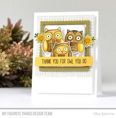 Handmade card from Vika Salmina featuring For Owl You Do stamp set and Die-namics #mftstamps