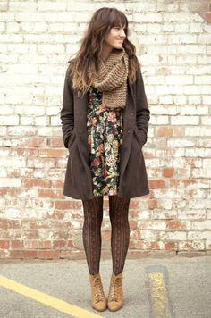 long peacoat, thick scarf, floral dress, stockings and lace up ankle boots