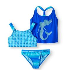 Plus Size Girls' Glitter Mermaid 3 Piece Swim Set, Size: Kids 4 Plus, Blue Disney Bathing Suit, Kids Bathing Suits, Mermaid Swimming, Girls Swimming, Swimming Suits, Cute Swimsuits, Cute Bikinis, Cute Mermaid, Mermaid Gifts
