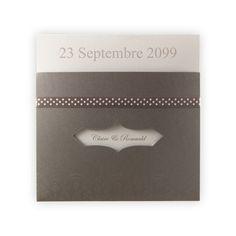 Faire part de mariage vintage Régalb : Pochette & satin taupe/encart gris JL-3041