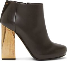 Lanvin Black Leather Gold Heel Boots