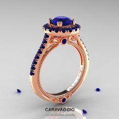 Rosa de Caravaggio 14K oro Ct 10 azul zafiro anillo por artmasters