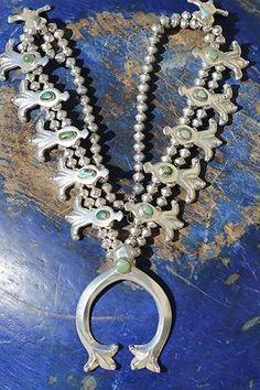 Vintage Navajo Tufa Cast Ingot Sterling Silver Turquoise Squash Blossom Necklace   eBay