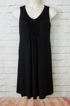 Womens BASS Sheer Black Knit Ruffled Chest Sleeveless Casual Shift Dress Size M #Bass #EmpireWaist #Casual