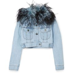 Prada Cropped feather-trimmed denim jacket (9 ec79b57eb