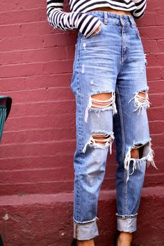 Girls Off 5th in distressed denim #streetstyle