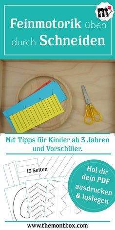 Montessori-inspired fine motor exercise: Montessori-inspirierte Feinmotorikübung: Schneiden Your PDF for meaningful employment for your child. For children from approx. 3 years of age – with tips for preschoolers too, children will be fit for school. Montessori Pdf, Frases Montessori, Kindergarten Activities, Family Activities, Preschool, Motor Activities, Toddler Activities, Kindergarten Portfolio, Fine Motor Skills