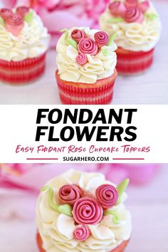 These flower cupcakes are decorated with fondant ribbon roses, one of the fastest and easiest fondant decorations you can make! They come together in just a few minutes and are the perfect romantic touch for any cake or cupcake. Perfect for Valentine's Day or any special occasion. #sugarhero #valentinesdaycupcakes #rosecupcakes #fondantroses #cupcakedecorating Fondant Flower Cupcakes, Cupcake Frosting Recipes, 12 Cupcakes, Fondant Rose, Lemon Cupcakes, Fondant Flowers, Cupcake Toppers, Strawberry Buttercream, Vanilla Buttercream