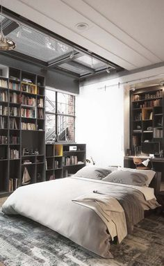 Awesome Industrial Style Decor Ideas That You Can Create For Your Urban Getaway Bringing New York Loft Style into the Loft Style Bedroom, Industrial Style Bedroom, Industrial House, Industrial Interiors, Bedroom Styles, Industrial Decorating, Urban Industrial, Industrial Furniture, Industrial Design