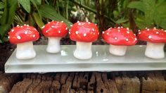 Whimsical Ceramic Fairy Mushroom fairy garden by gnashgirl on Etsy