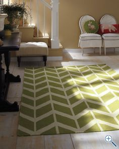 Someday my home will have at least one room that's light & airy with pops of color. #garnethill Chevron Flat-Weave Wool Rug