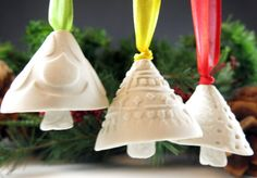 Christmas+Bells++White+Snow+Bells++Ornaments++by+Botanic2Ceramic,+$28.00