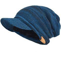 4effe843b62 Men Slouch Beanie Thick Fleece Lined Knit Visor Hat