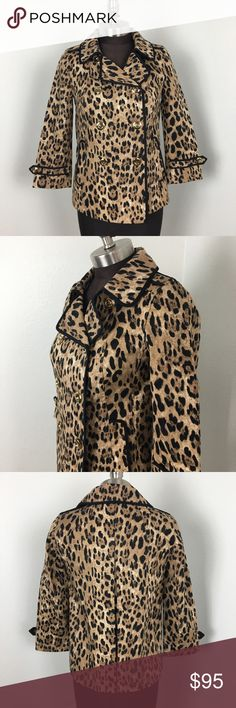 NWT White House Black Market Leopard Swing Jacket White House Black Market Leopard Swing Jacket, double breasted, fully lined, size 0. Black outline detail, super sharp. Could be worn as a blazer or casual jacket. Comes with extra buttons. Machine washable! White House Black Market Jackets & Coats