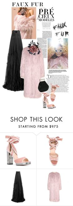 """""""Rather go naked than wearing real fur !"""" by scapin ❤ liked on Polyvore featuring Valentino, Balmain, House of Holland, Rick Owens, Dries Van Noten and fauxfurcoats"""