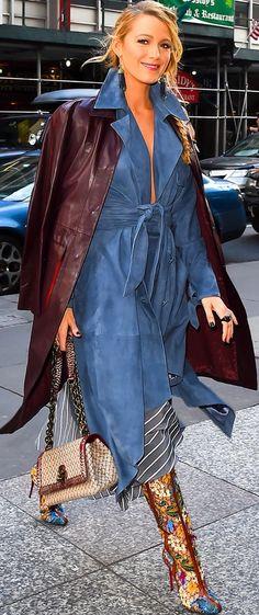 Blake Lively in denim dresses