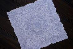 linen Fine embroidery Four corners white Handkerchiefs SWATOW ハンカチ
