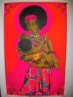 "Rare Vintage Original 1972 Screenprint ""Black Madonna"" Blacklight Poster"