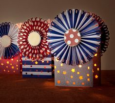 Fourth of July Rosette luminaries. Make It Now in Cricut Design Space 4th Of July Celebration, 4th Of July Party, Fourth Of July, American Flag Wreath, 4th Of July Decorations, Patriotic Party, Cricut Design, Independence Day, Memorial Day