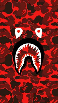 Bape shark face red camo phone wallpapers in 2019 милые обои Bape Shark Wallpaper, Bape Wallpaper Iphone, Hypebeast Iphone Wallpaper, Supreme Iphone Wallpaper, Camo Wallpaper, Nike Wallpaper, Homescreen Wallpaper, Cartoon Wallpaper, Wallpaper Backgrounds