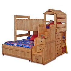 The Fort Twin/Full Complete Loft Fort Bed with Stairway Chest by Trendwood