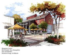 Marker rendering creates autumn in a built environment Watercolor Architecture, Architecture Sketchbook, Concept Architecture, Landscape Architecture, Landscape Design, Architecture Design, Sketches Arquitectura, Perspective Sketch, Building Sketch