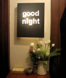 DIY Framed Canvas Night Light - this would be a fabulous night light!!  I think I would use Christmas lights and just cut a slot for the cord. I could also see this with light colored flowers instead of words.