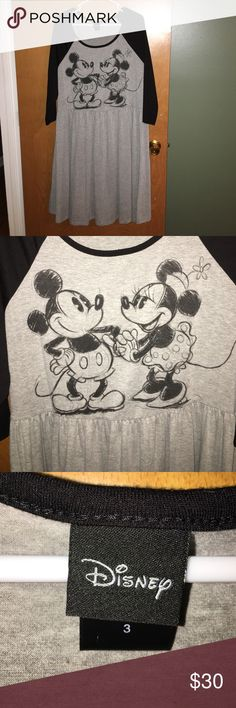 Disney Mickey And Minnie Mouse 🐭 Dress 👗 Skater styled Mickey and Minnie Mouse dress from Disney sold by Torrid.  Very comfortable!  95% Rayon, 5% Spandex blend. Disney - Torrid Dresses