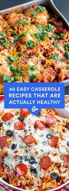 23 Easy Casserole Recipes That Are Actually Healthy Easy Dinners 40 einfache Auflaufrezepte, die tat Healthy Potato Recipes, Healthy Casserole Recipes, Potatoe Casserole Recipes, Mexican Food Recipes, Dinner Recipes, Cauliflower Recipes, Casseroles Healthy, Cauliflower Pizza, Salads