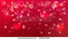 Valentines Day, Mother's day, women's day holiday, birthday, anniversary, wedding day romantic love symbols pink red color background heart shapes, blurred rose petals, confetti, bokeh lights abstract