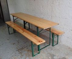 Vintage Industrial German Beer Table Bench Set Garden Furniture Varnished