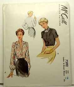 McCall 7592 early 1950's blouse pattern