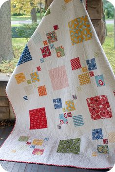 I LOVE quilts!    Materials needed: 1 layer cake 6 1/2 yards solid white 3/4 yard binding 8 1/2 yards backinghttp://shop.psiquilt.com/product/impromptu-quilt-pattern-108-pdf-version