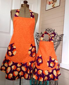 Orange and Purple Floral Matching Flounce Aprons on Etsy, $40.00
