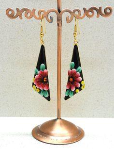Handmade earrings polymer clay black red green OOAK by by artefyk, $25.00
