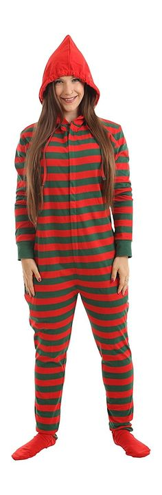 Footed Pajamas Striped Adult Onesie Red Green Stripes XS-XXL(Size by height)  - CA12N26724N. Christmas PajamasWomens ... bf76180e9