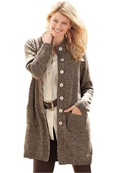 a7d30e9c8e16 Women s Plus Size Marled Sweater Jacket at Amazon Women s Clothing store   Cardigan Sweaters