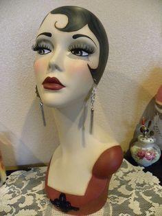 Vintage Style Art Deco Flapper Mannequin Head/ Hat Stand