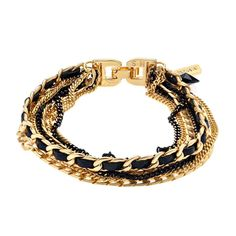 Multi strand chain and link bracele tin black and gold tone by Orly Hagai