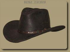 Kowbojski kapelusz ze skóry w kolorze brązowym.Skóra typu kryształek z lekkim połyskiem.W rondzie drut ułatwiający profilowanie kapelusza.Wykonanie solidne, wysoka jakość.
