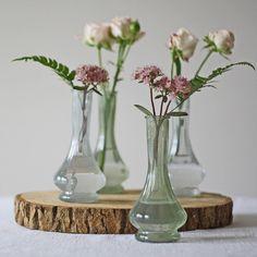 Vintage Green & Clear Glass Bud Vases  - Set Of 2
