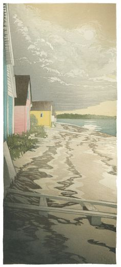 """Afternoon at Plum Island"" by Matt Brown; 7"" x 16"", Moku Hanga Woodcut"