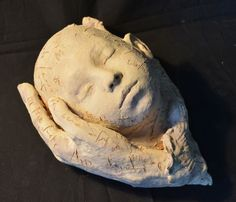 #Terracotta #sculpture by #sculptor Paola Grizi titled: 'Taking Care (Lovely Sleeping Baby Child sculptures)'. #PaolaGrizi