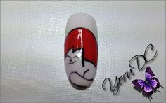 Simons Cat Nail Art.  Materials Used: - Base Coat - White Nail Polish - Red Nail Polish - Black Striper Polish - Top Coat  Tools Used: - Triangle Tip Detail Brush - Square Tip Detail Brush - Practice Finger Nail Support  Type Nail: - Almond Thumb Nail  Inspiration: http://1.bp.blogspot.com/_HffMIgYLHYY/S7uYfGQHpzI/AAAAAAAAAI0/QhTfBdVLzxg/s320/simons-cat.png