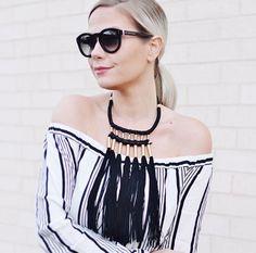 1d0bf5b4087 fringe tassel necklace   off the shoulder stripes Tassel Necklace