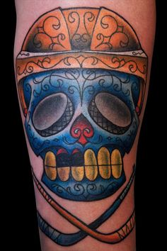 "Hockey Sugar Skull! Freaking amazing, Love the missing teeth.... ""if they're missing teeth, i'm missing my pants""-robin scherbotzki HIMYM"