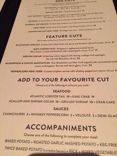 Menu Options at Keg Steakhouse and Bar, Brandon, MB